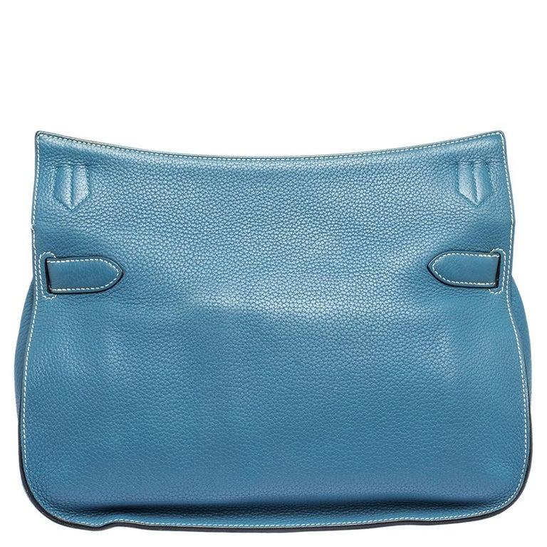 Women's Hermes Blue Jean Togo Leather Palladium Hardware Jypsiere 34 Bag For Sale