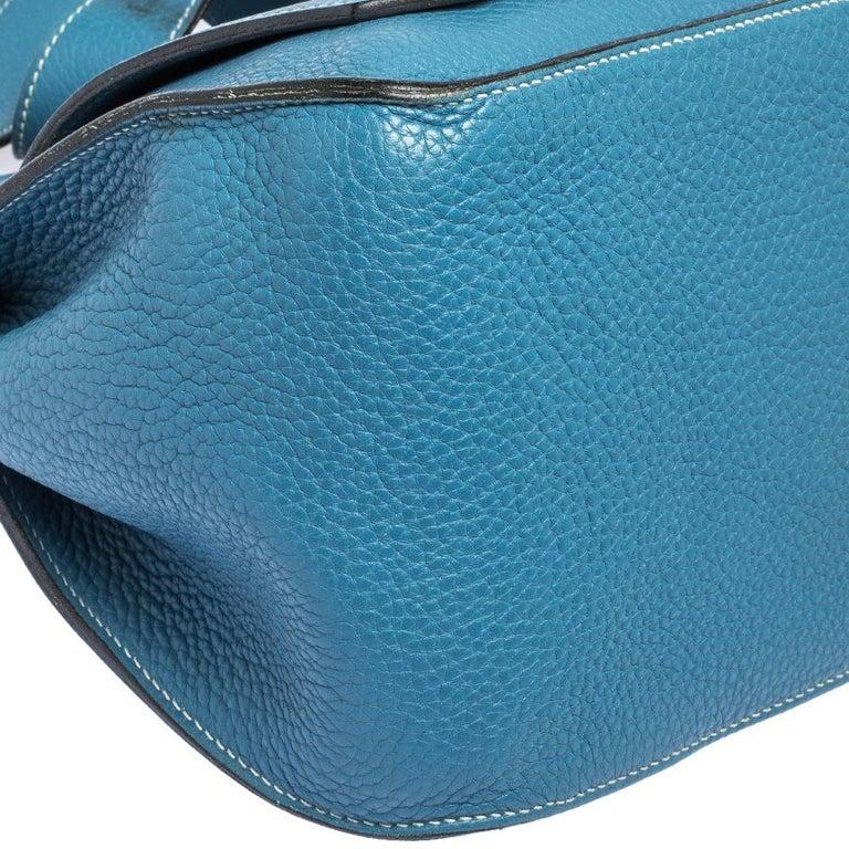 Hermes Blue Jean Togo Leather Palladium Hardware Jypsiere 34 Bag For Sale 2