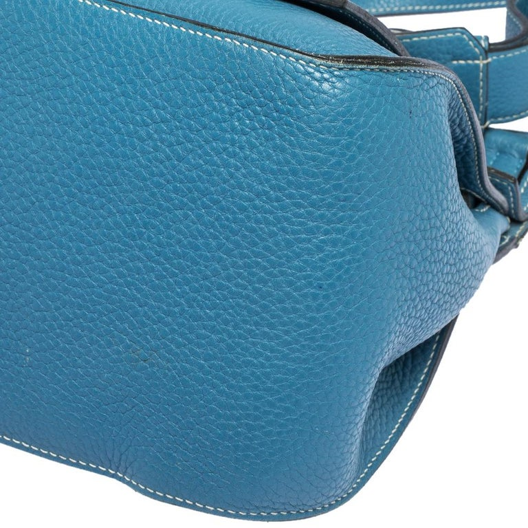 Hermes Blue Jean Togo Leather Palladium Hardware Jypsiere 34 Bag For Sale 3