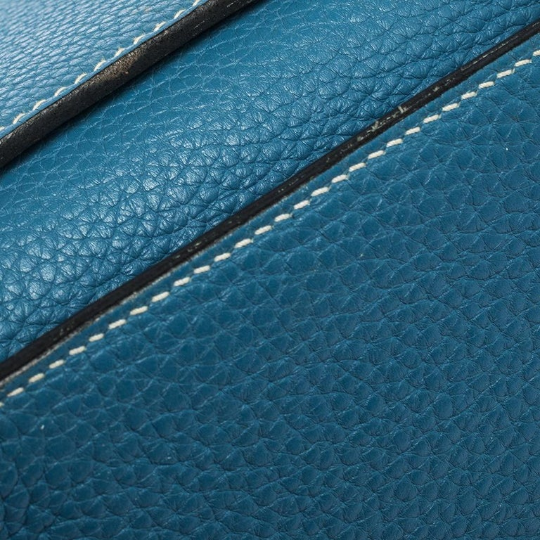 Hermes Blue Jean Togo Leather Palladium Hardware Jypsiere 34 Bag For Sale 4
