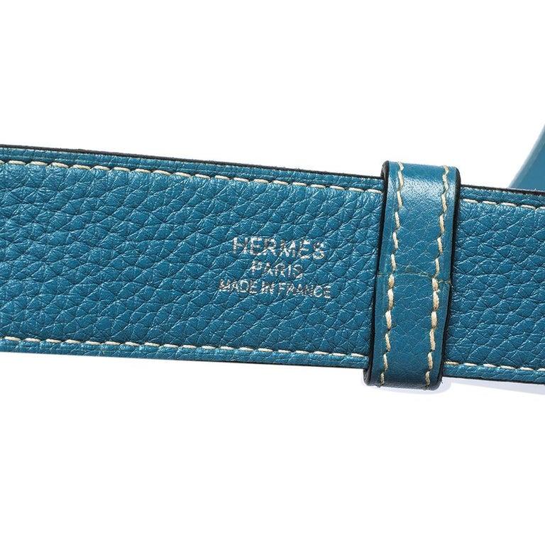 Hermes Blue Jean Togo Leather Palladium Hardware Jypsiere 34 Bag For Sale 5