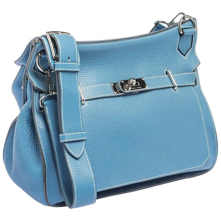 Hermes Blue Jean Togo Leather Palladium Hardware Jypsiere 34 Bag For Sale