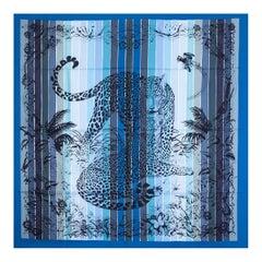Hermes blue JUNGLE LOVE RAINBOW 90 silk twill Scarf