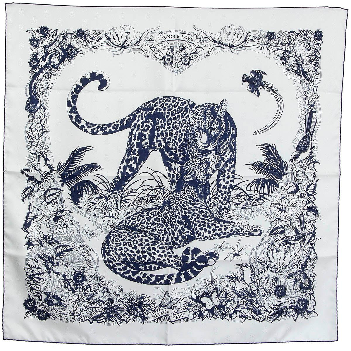 Hermes blue JUNGLE LOVE TATTOO 90 Scarf silk BLANC MARINE