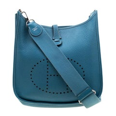 Hermes Blue Lagon Clemence Leather Evelyne III PM Bag