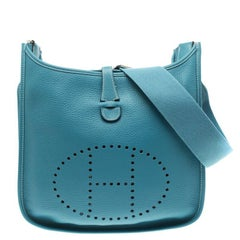 Hermes Blue Lagon Togo Leather Evelyne III PM Bag