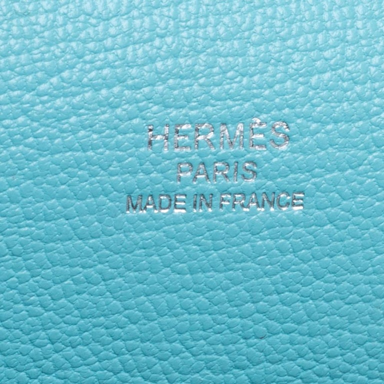 Hermes Blue Lagoon Togo and Swift Leather Palladium Hardware Jypsiere 28 Bag For Sale 6
