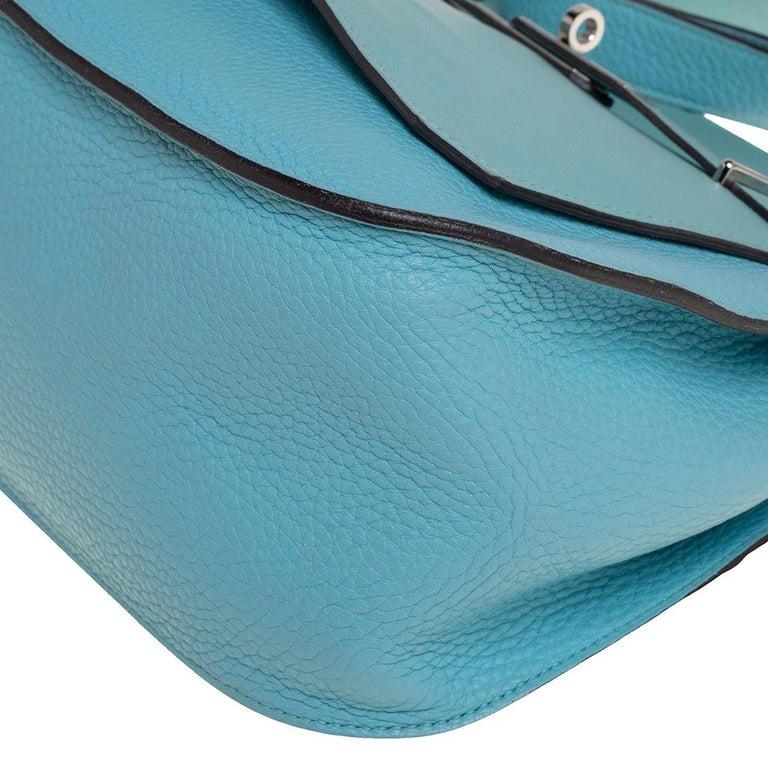 Hermes Blue Lagoon Togo and Swift Leather Palladium Hardware Jypsiere 28 Bag For Sale 7