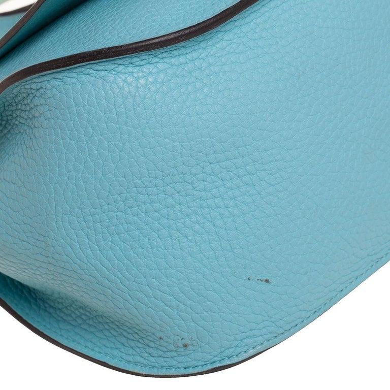 Hermes Blue Lagoon Togo and Swift Leather Palladium Hardware Jypsiere 28 Bag For Sale 8