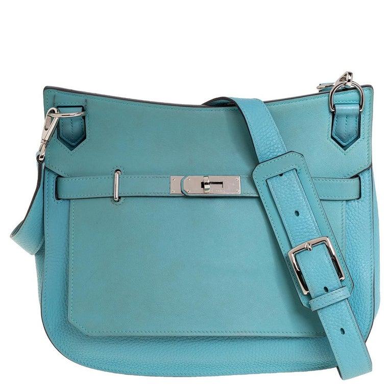 Women's Hermes Blue Lagoon Togo and Swift Leather Palladium Hardware Jypsiere 28 Bag For Sale