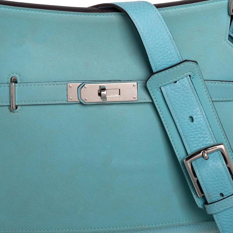 Hermes Blue Lagoon Togo and Swift Leather Palladium Hardware Jypsiere 28 Bag For Sale 2