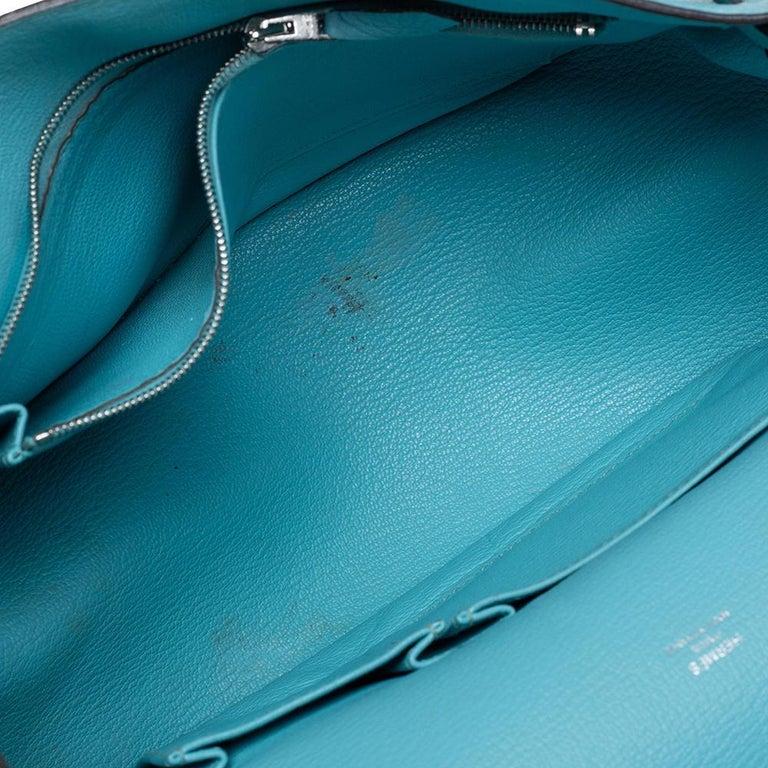 Hermes Blue Lagoon Togo and Swift Leather Palladium Hardware Jypsiere 28 Bag For Sale 5