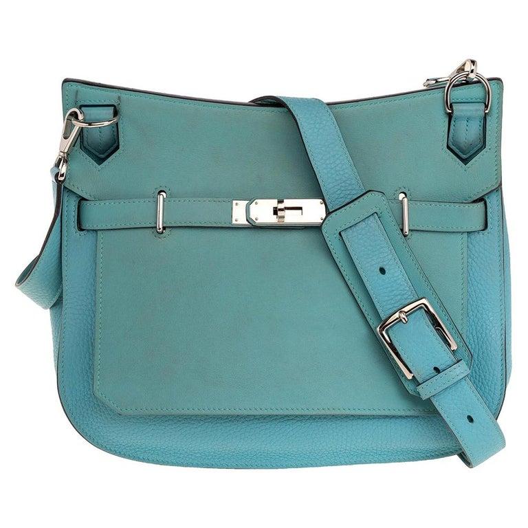 Hermes Blue Lagoon Togo and Swift Leather Palladium Hardware Jypsiere 28 Bag For Sale