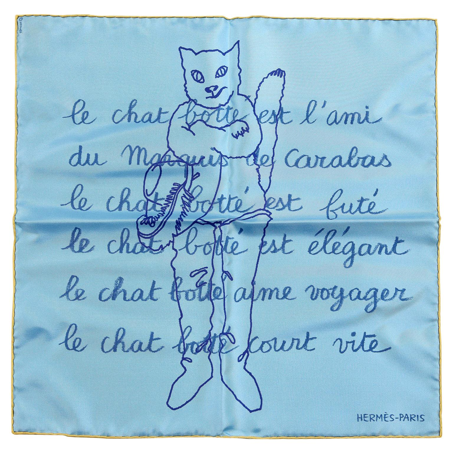 Hermès Blue Le Chat Botte Silk Pochette Scarf