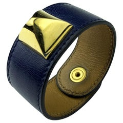 Hermes Blue Leather Bracelet