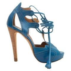 Hermes Blue Leather Brogue Cutout Peep-Toe Heels