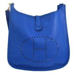 "Hermes Blue Leather Canvas ""H"" Logo Men's Women's Crossbody Shoulder Bag"