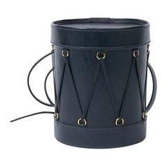 HERMÈS Blue Leather Drum Bag