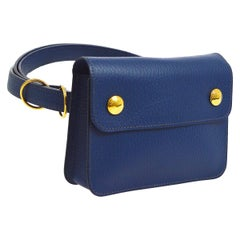 Hermes Blue Leather Gold Fold Over Fanny Pack Flap Bum Waist Belt Bag