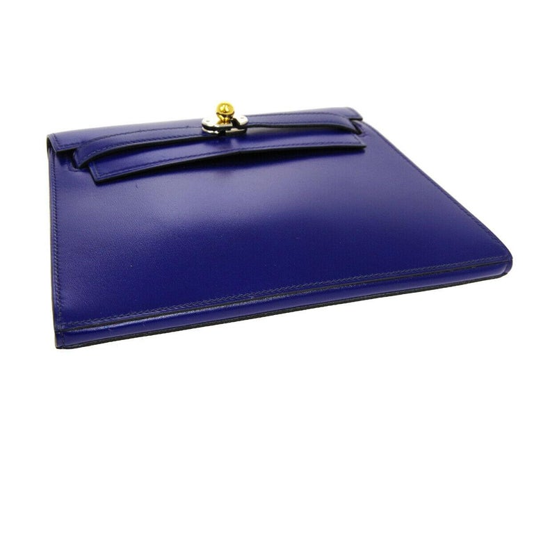 Hermes Blue Leather Gold Palladium Evening Envelope Clutch Flap Bag In Good Condition For Sale In Chicago, IL