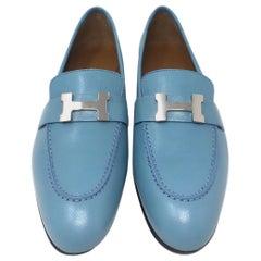 Hermes Blue Leather H Logo Paris Loafers Size 35