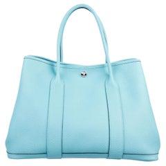 Hermes NEW Blue Leather Large Carryall Travel Garden Top Handle Satchel Tote Bag