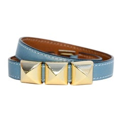 Hermes Blue Leather Medor Wrap Bracelet sz Medium