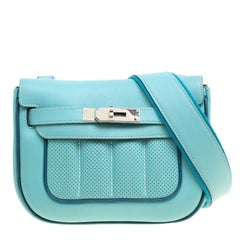 Hermes Blue Leather Mini Berline Bag