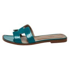 Hermes Blue Leather Oran Flat Sandals Size 38