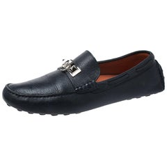 Hermes Blue Leather Slip On Loafers Size 42