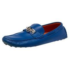 Hermés Blue Leather Slip On Loafers Size 43