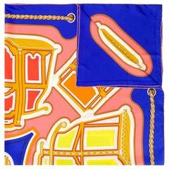 Hermès Blue Les Berlines Maxi Square Scarf