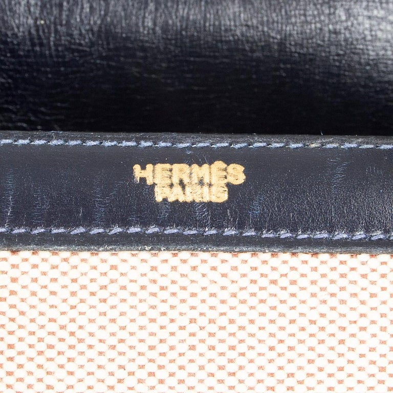 HERMES Blue Marine Box leather & Toile H DRAG 30 Bag VINTAGE For Sale 5