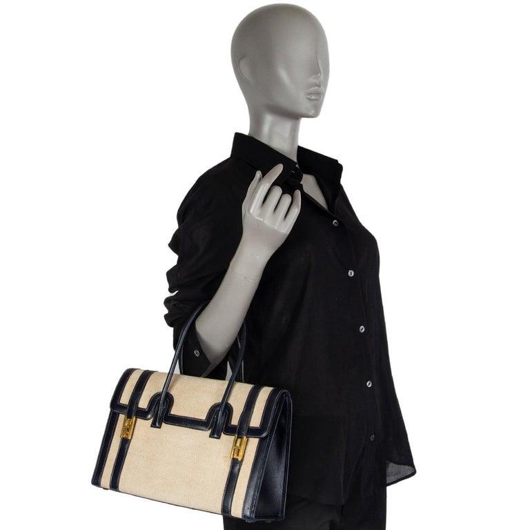 HERMES Blue Marine Box leather & Toile H DRAG 30 Bag VINTAGE For Sale 6