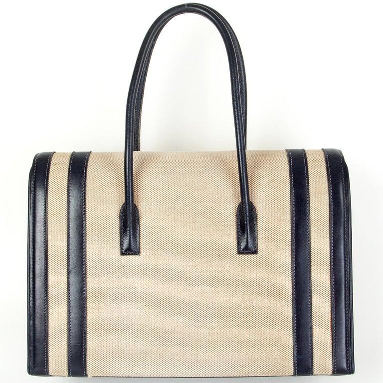 Beige HERMES Blue Marine Box leather & Toile H DRAG 30 Bag VINTAGE For Sale