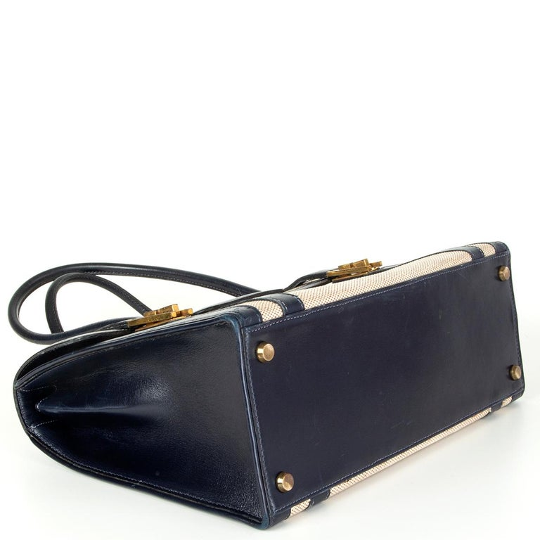 HERMES Blue Marine Box leather & Toile H DRAG 30 Bag VINTAGE In Good Condition For Sale In Zürich, CH