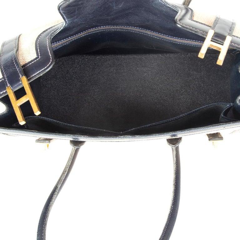 Women's HERMES Blue Marine Box leather & Toile H DRAG 30 Bag VINTAGE For Sale
