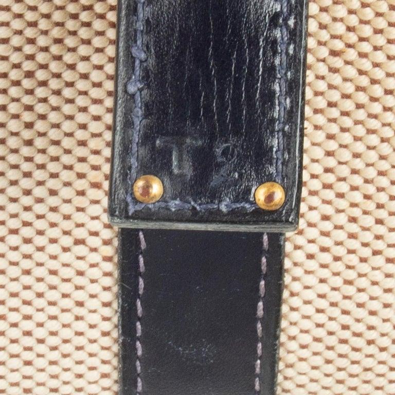 HERMES Blue Marine Box leather & Toile H DRAG 30 Bag VINTAGE For Sale 1