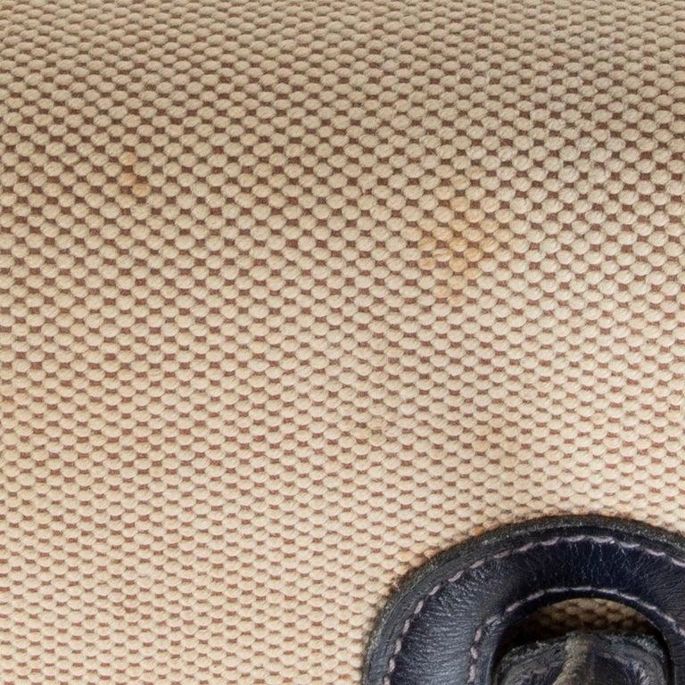 HERMES Blue Marine Box leather & Toile H DRAG 30 Bag VINTAGE For Sale 2