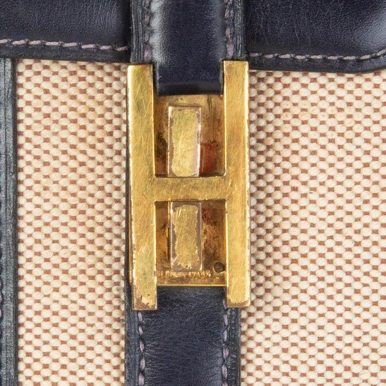 HERMES Blue Marine Box leather & Toile H DRAG 30 Bag VINTAGE For Sale 3