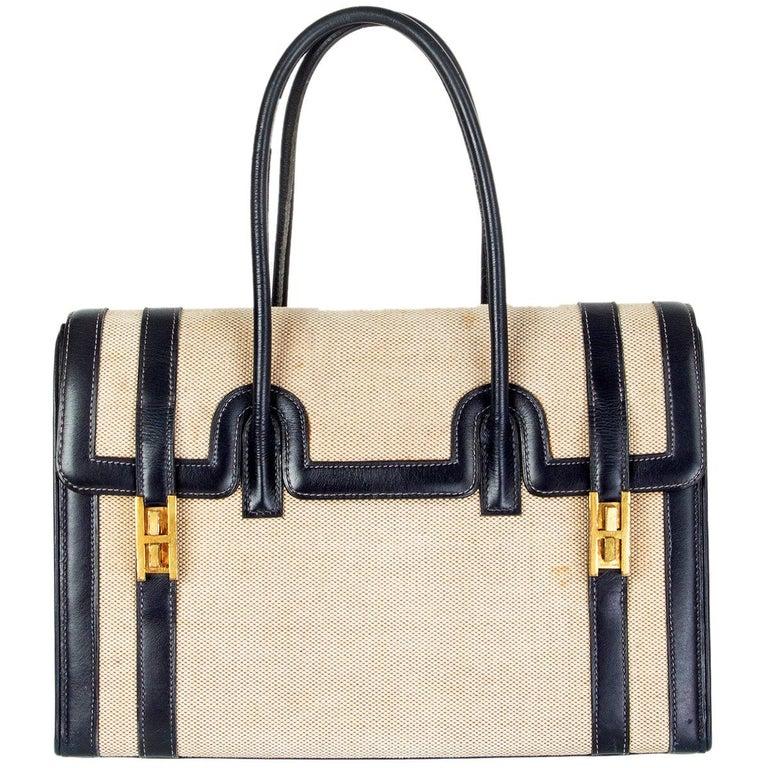 HERMES Blue Marine Box leather & Toile H DRAG 30 Bag VINTAGE For Sale