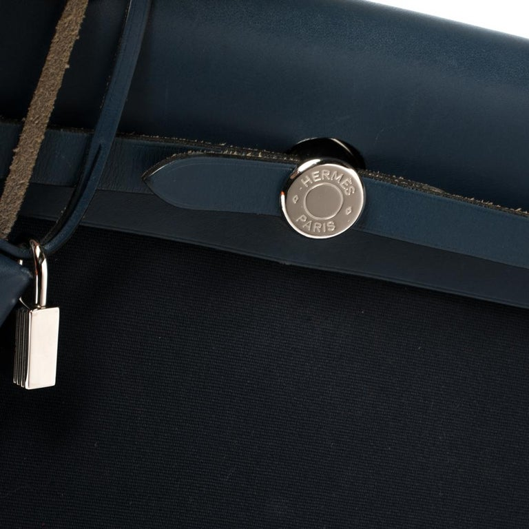Hermes Blue Marine/Saphir Canvas and Leather Herbag Zip 31 Bag 5