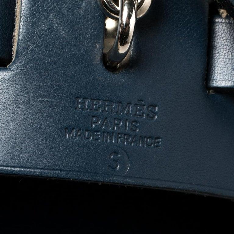 Hermes Blue Marine/Saphir Canvas and Leather Herbag Zip 31 Bag 6