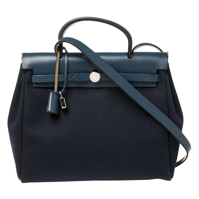 Hermes Blue Marine/Saphir Canvas and Leather Herbag Zip 31 Bag