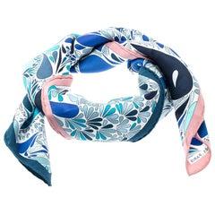 Hermes Blue Millefleurs Du Mexique Printed Silk Square Scarf