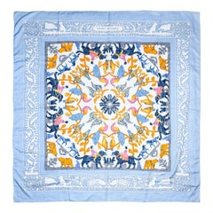 "Hermes Blue & Multi ""Early America"" Design by Francoise de la Perriere Shawl"