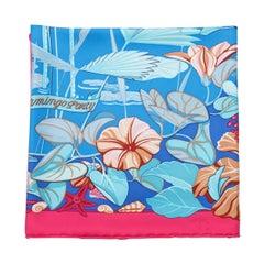 Hermes Blue & Multicolor Flamingo Party Silk Scarf