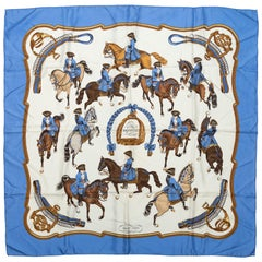 Hermes Blue & Multicolor 'Reprise' Silk Scarf