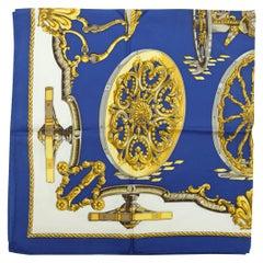 Hermes Blue & Multicolor Silk Print Scarf