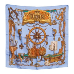 Hermes Blue Musee by Ledoux Silk Scarf